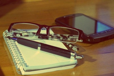 desk, table, smartphone, notebook, pen, technology, eyeglasses, vision