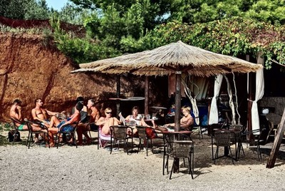 beach, beach bar, drinks, beverages, people, crowd, bamboo, summer, fun, rocks, chairs