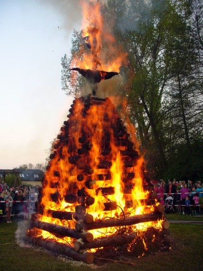 fire, flame, wood, forest, sky, smoke, trees, ritual, fair, burn, witch, people