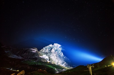 illuminated, mountain, peak, nature, night, sky, stars, astronomy, landscape, summit, alps, alpine