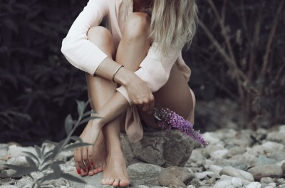 woman, girl, blonde, pebbles, feet, legs, flowers, rocks, beach, sitting, nature, summer