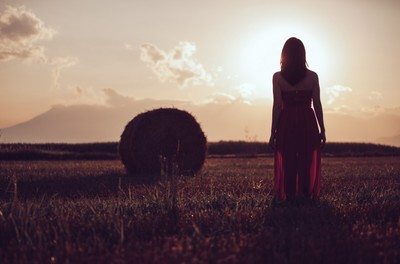 field, rural, countryside, hay, nature, sky, clouds, sun, woman, dress, girl, fashion