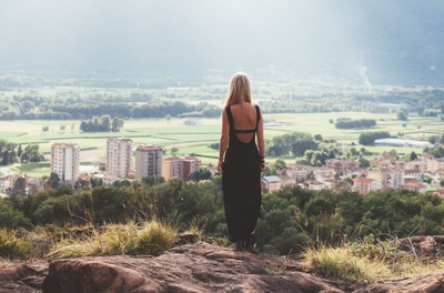 woman, girl, blonde, dress, rock, view, countryside, sunlight, style, fashion, landscape, standing