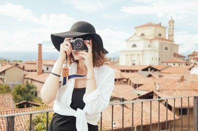 tourist, woman, girl, hat, fashion, camera, photographing, summer, architecture, travel, town
