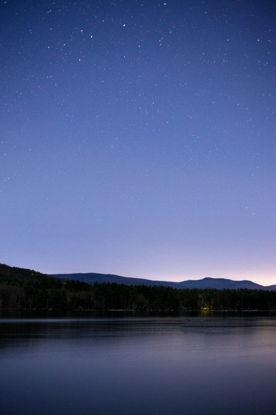 lake, water, nature, sky, stars, astronomy, starry, night, evening, hills, landscape