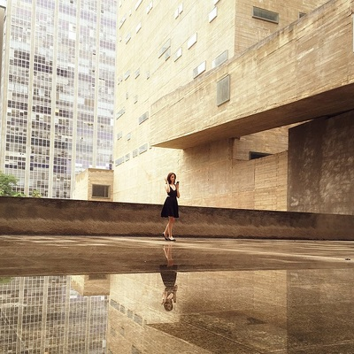 woman, girl, female, reflection, architecture, buildings, modern, building