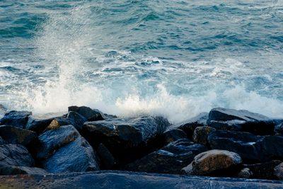 ocean, sea, water, rocks, stones, nature, waves