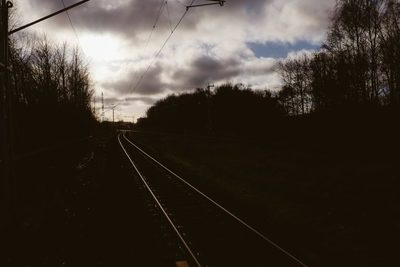 railway, railroad, rail, track, clouds, cloudy, weather, trails, sky