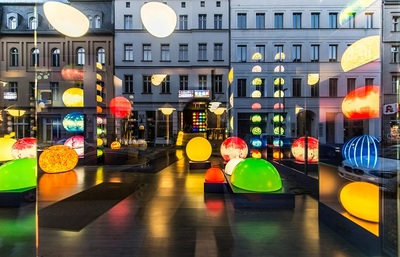 street, installations, modern, urban, city, architecture, colorful, lights, square, buildings
