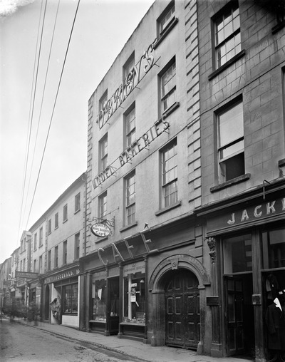 cafe, bakery, buildings, street, old, vintage, black, white, waterford, city