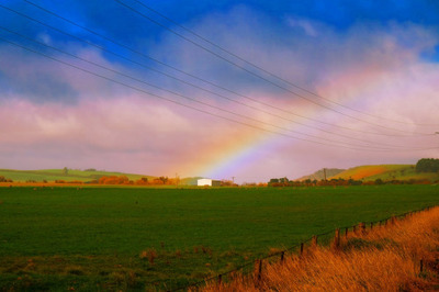 rural, countryside, farm, grass, field, sky, clouds, rainbow, meteorology, nature