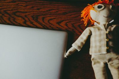 doll, puppet, toy, macbook, laptop, technology, table, tech, work