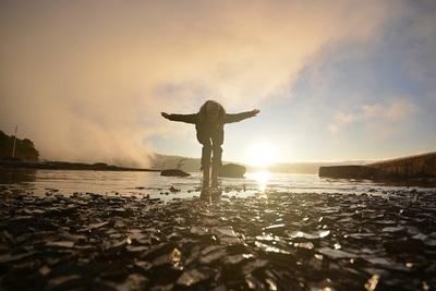 ocean, sea, water, beach, rocks, nature, sunlight, woman, girl, female, sky
