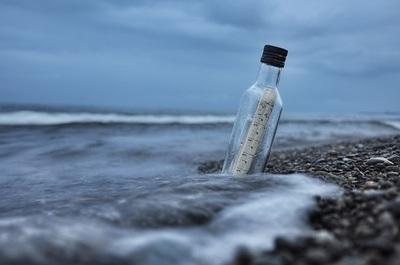 ocean, sea, water, beach, pebbles, bottle, message, waves, sky