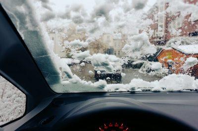 car, automobile, vehicle, automotive, windshield, snow, frozen, winter, cold, driving