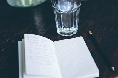 glass, water, drink, beverage, paper, notebook, diary, journal, planner, pencil