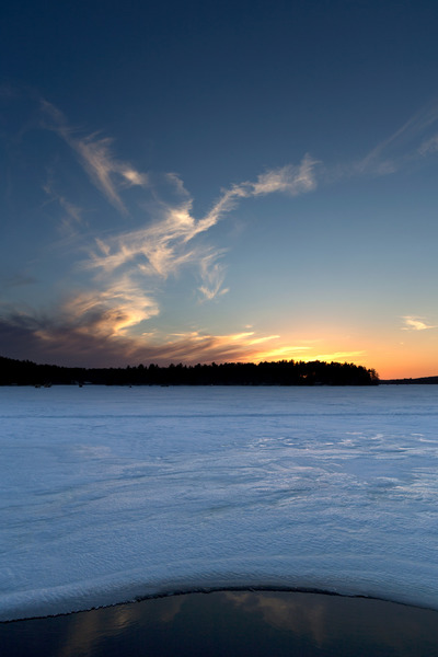 lake, water, nature, landscape, winter, snow, cold, frozen, sky, clouds, sunset, dusk, sundown