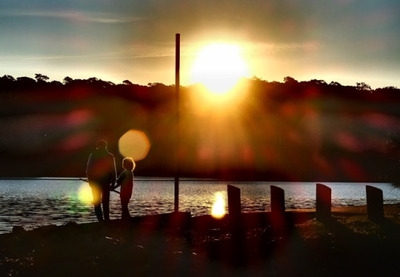 fisherman, fisher, fishing, sunset, dusk, sundown, sun, father, kid, child, parenthood, dad, sky
