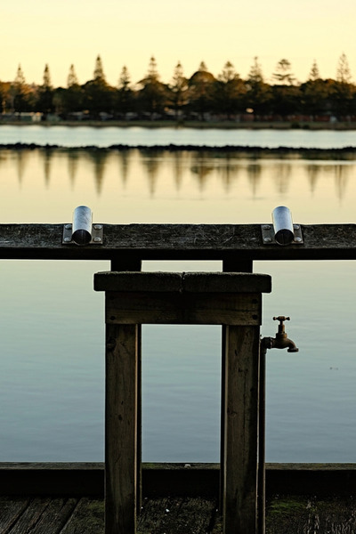 lake, water, landscape, dusk, reflection, dock, pipe, fountain, wooden, sunset