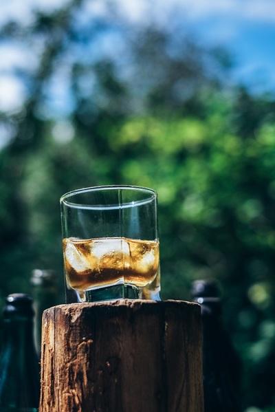 whiskey, whisky, scotch, glass, drink, beverage, bokeh, alcohol, stump, bottles