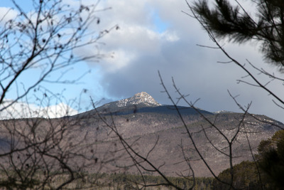 mountain, peak, nature, landscape, branches, winter, snow, sky, clouds, bokeh