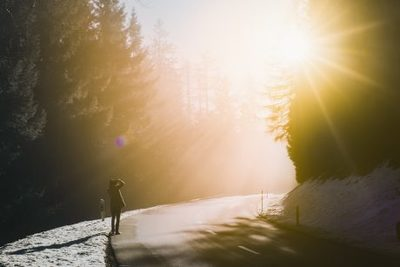 winter, snow, nature, forest, road, sunlight, trees, woman, girl, female, sun