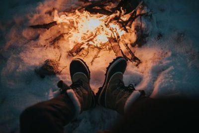bonfire, campfire, fire, flame, night, burning, heat, hot, winter, snow, cold, legs, feet, shoes
