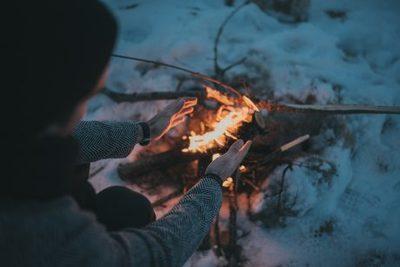 bonfire, campfire, fire, flame, night, burning, heat, hot, hands, female, girl, woman, winter, snow, cold