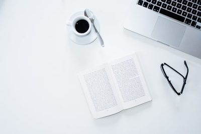 workspace, workplace, minimalistic, white, book, glasses, coffee, drink, beverage, laptop, office