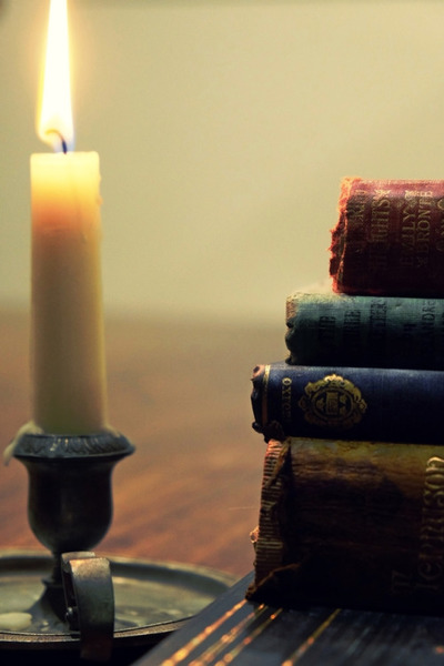 candle, flame, fire, books, table, reading, literature, novel, bokeh