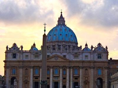 vatican, basilica, church, religion, architecture, cross, sky, clouds, dusk, sunset