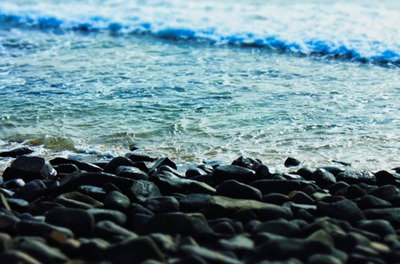 ocean, sea, water, pebbles, beach, stones, wave, summer