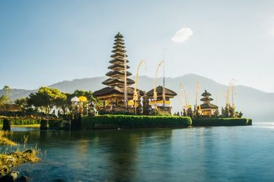 asian, temple, lake, water, architecture, scenery, trees, landscape, destination, sky