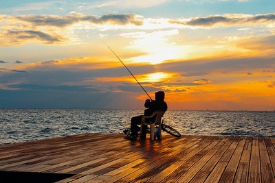 ocean, sea, water, dock, sunset, sundown, sky, clouds, fishing, fisherman, recreation, bike
