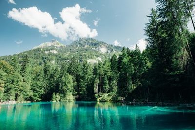 lake, water, nature, landscape, emerald, greenery, destination, forest, trees, mountain, sky, clouds