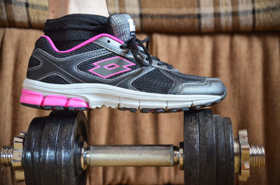 dumbbell, fitness, gym, active, healthy, recreation, exercise, shoe, sport, workout, sneaker, footwear