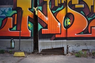 graffiti, street, art, wall, old, door, entry, abandoned, building, broken