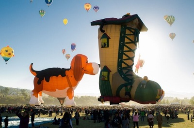 festival, celebration, hot, air, balloon, dog, boot, people, crowd, sky, culture