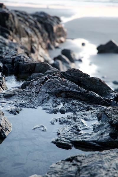 rocks, water, nature, snow, winter, cold, frozen, season, bokeh