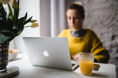 laptop, notebook, keyboard, woman, technology, girl, workplace, workspace, office, working, female, macbook