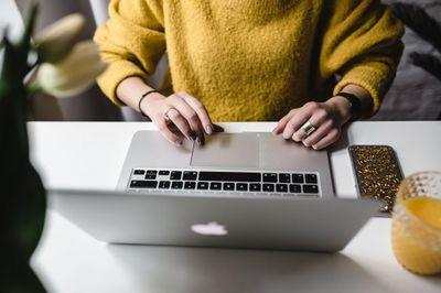 laptop, notebook, keyboard, woman, technology, girl, workplace, workspace, office, working, juice, drink