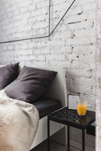 bed, bedroom, home, decor, interior, pillows, furniture, wall, room, juice, drink