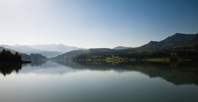 lake, water, nature, landscape, reflection, sky, hills, mountain, waterscape