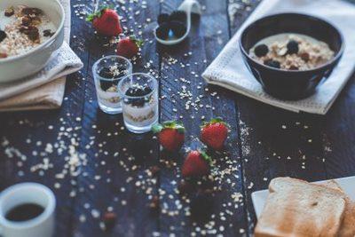 breakfast, food, morning, healthy, vegan, strawberries, bowl, fruit, toast