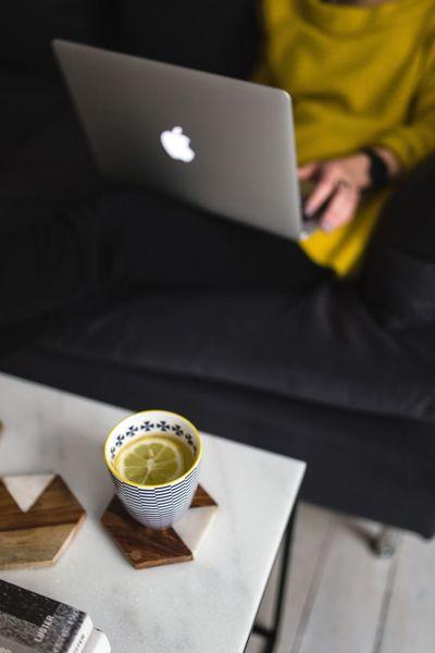 woman, girl, laptop, technology, working, typing, blog, blogging, drink, mug, home