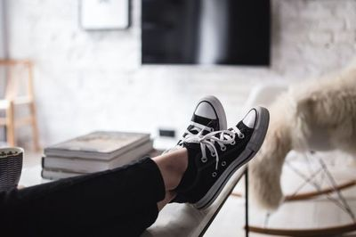 woman, girl, female, magazines, converse, sneakers, footwear, home, relaxation
