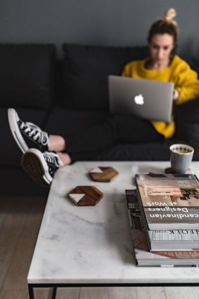 woman, girl, female, sofa, working, home, blogger, converse, sneakers, blog, blogging, laptop