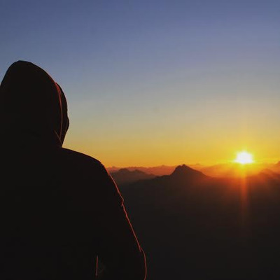 sky, sunset, sundown, sunrise, dawn, dusk, golden, hour, hills, man, watching