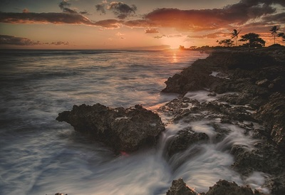 ocean, sea, water, waves, rocks, abstract, sky, clouds, sunset, sunrise, sundown, dusk, dawn