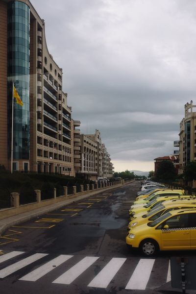 city, town, street, parking, lot, taxi, cab, cars, yellow